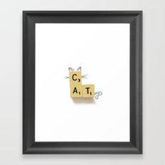 Cat Scrabble Framed Art Print
