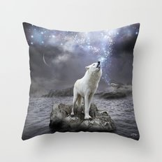 Stars Lie Hidden (Wolf Galaxy) Throw Pillow