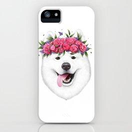 Samoyed with flowers iPhone Case
