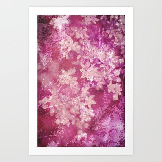 floral grunge pink Art Print