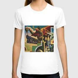 Classical Masterpiece 'Instruments of Power - Train, Airplane, Steam by Thomas Hart Benton T-shirt