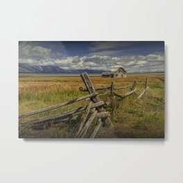 Wood Fence with Farm on Mormon Row in the Grand Teton National Park Metal Print