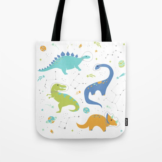Space Dinosaurs on Orange + Blue by latheandquill