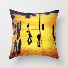 Humans and Statues Throw Pillow