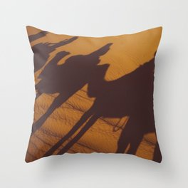 Sahara Desert Camels Throw Pillow