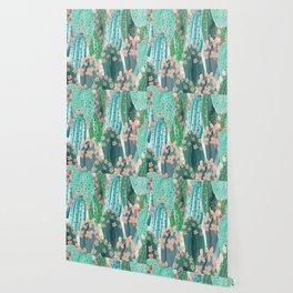 Colorful watercolor cacti Wallpaper