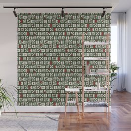 Geometrical green white red abstract stripes squares pattern Wall Mural