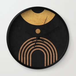 Transitions - Black 01 - Minimal Geometric Abstract Wall Clock