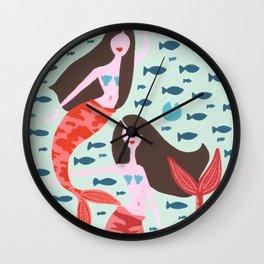 Koi Mermaids on Mint Wall Clock
