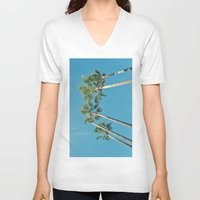 palm tree V-neck T-shirts featuring Palm tree by Laura James Cook