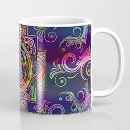 Colorful Gold framed Sri Yantra Sri Chakra Coffee Mug