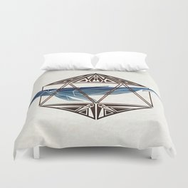 whale in the icosahedron Duvet Cover