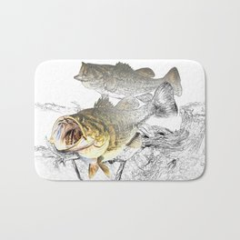 Largemouth Black Bass Fishing Art Bath Mat