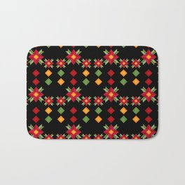 Abstraction .National ethnic ornament . Black background . Bath Mat
