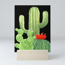 Perfect Cactus Bunch on Black Mini Art Print