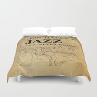 louis armstrong Duvet Covers featuring Louis Armstrong Quote by Larsson Stevensem