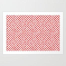 Polka Dot Red and Pink Blotchy Pattern Art Print