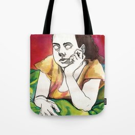 Girl on Red Tote Bag