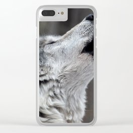 Howling Tundra Wolf Clear iPhone Case