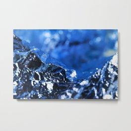 Cold Mountain Landscape Roads Metallic Foil Composition Metal Print