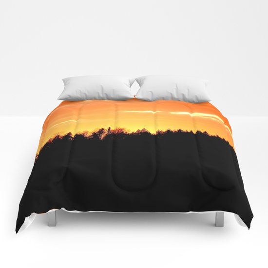 Forest Silhouette In Sunset Comforters