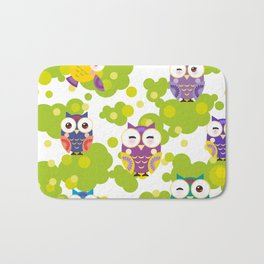 bright colorful owls and green leaves on white background Bath Mat