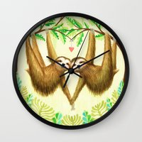 sloths Wall Clocks featuring Sloths in Love by Kirsten Sevig