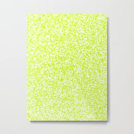 Tiny Spots - White and Fluorescent Yellow Metal Print