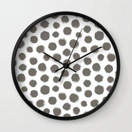 White & Gray Large Polka Dots  Wall Clock