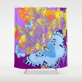 BLUE MOTHS PURPLE GOLDEN FLORALS ABSTRACT Shower Curtain