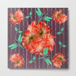 Green Dragonflies Pink Flower Ball Art Metal Print