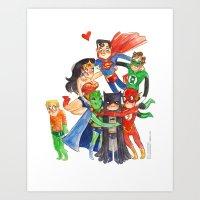 justice league Art Prints featuring Justice League Hug! by Super Group Hugs