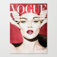 Vogue Magazine Cover. Vanessa Paradis. Fashion Illustration Canvas Print