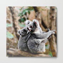 Koala Baby and Mummy Metal Print