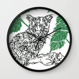 woodblock print Wall Clock
