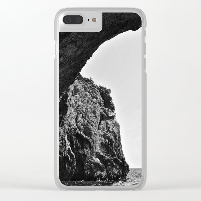 Black and White Cave Clear iPhone Case