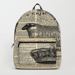 french dictionary print jubilee crown western country farm animal sheep Backpack