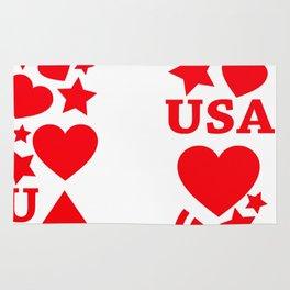 Fourth Of July Celebration USA Flag Rug