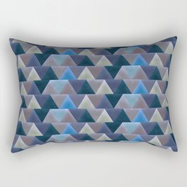 Blue Velvet Triangles Rectangular Pillow