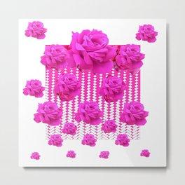 ABSTRACTED  PINK ROSES GARDEN ART Metal Print