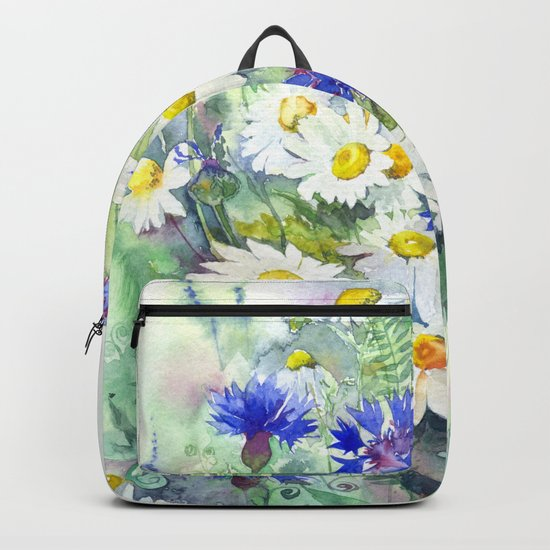 Watercolor chamomile and cornflowers Backpack