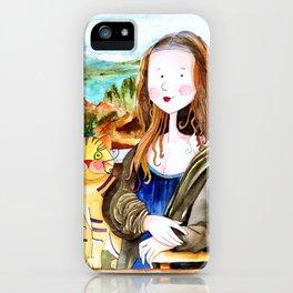 Mona Luisa and cat Leo iPhone Case