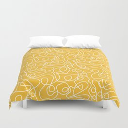 Doodle Line Art | White Lines on Mustard Yellow Duvet Cover