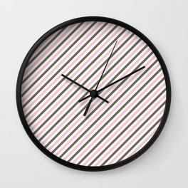 Pink and brown stripes Wall Clock
