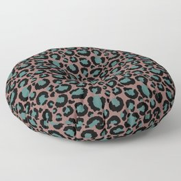 Brown & Teal Leopard Print Floor Pillow