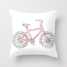 Scribble Bike Throw Pillow