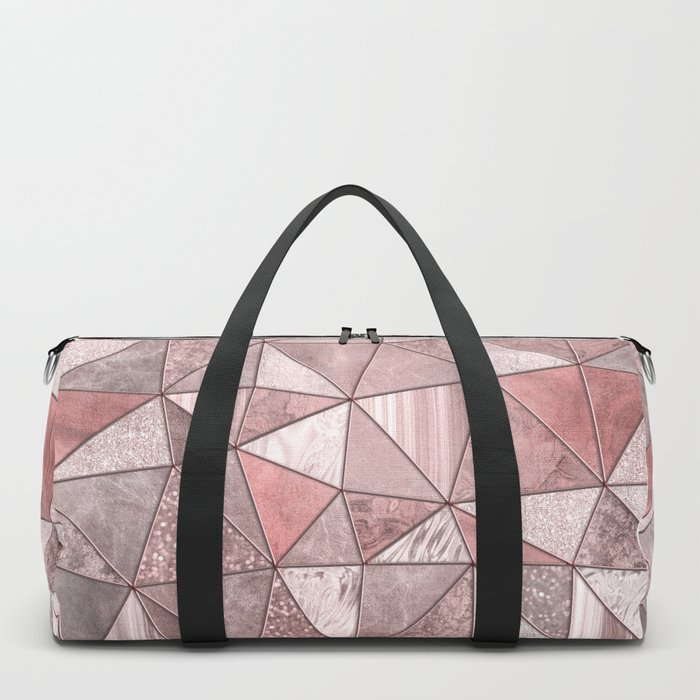 Soft Pink Coral Glamour Gemstone Triangles Duffle Bag