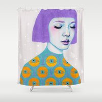 sweater Shower Curtains featuring The Observer by Natalie Foss
