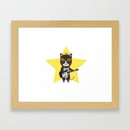 Rock-Music Cat Framed Art Print