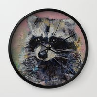 raccoon Wall Clocks featuring Raccoon by Michael Creese